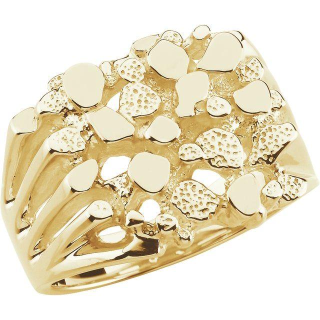 14K Yellow Men-s Nugget Ring