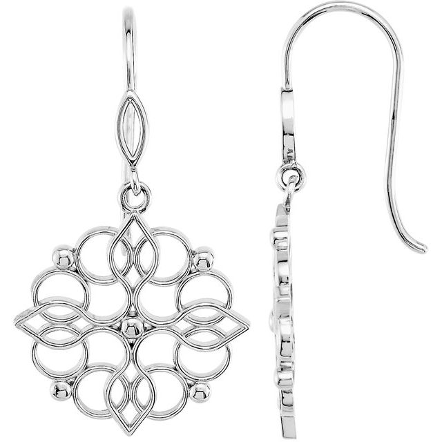 Sterling Silver 35x19 mm Floral-Inspired Earrings