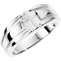 Sterling Silver 7.6 mm Grooved Cross Band Size 6