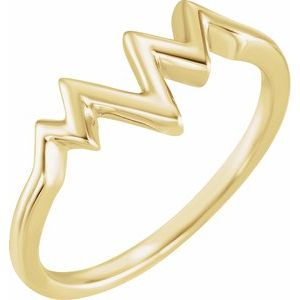 14K Yellow Heartbeat Ring