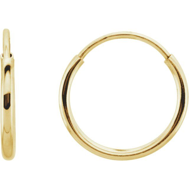 14K Yellow 10 mm Endless Hoop Earrings