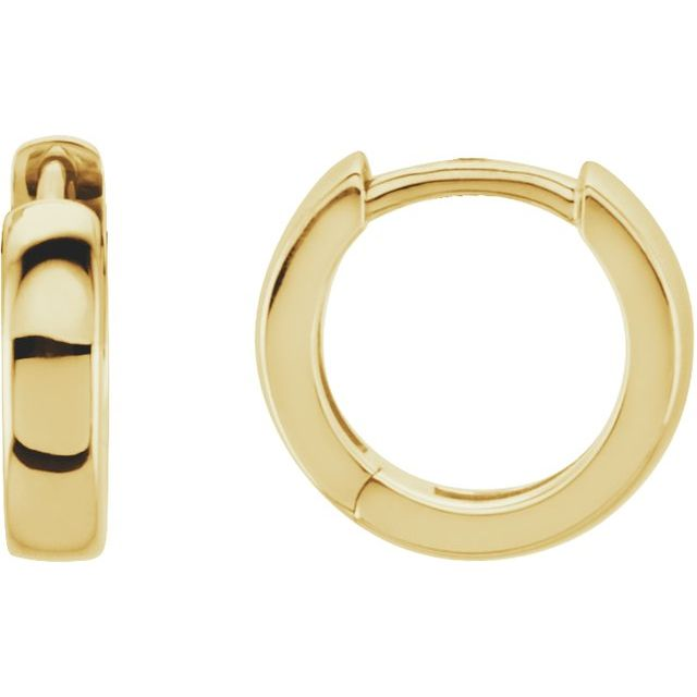 14K Yellow 11.5 mm Hinged Huggie Earrings