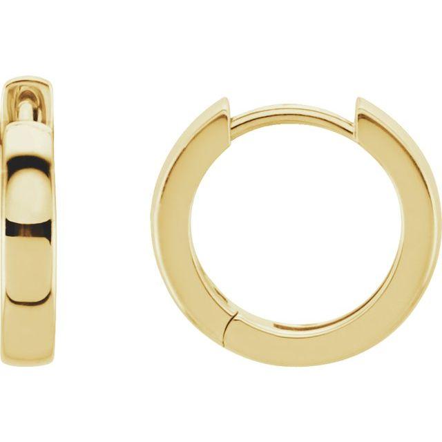 14K Yellow 14 mm Hinged Hoop Earrings