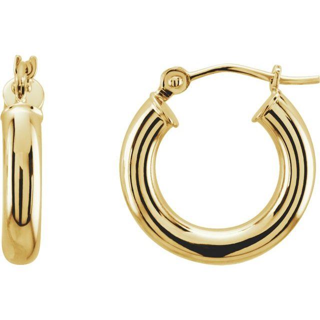 14K Yellow 15 mm Tube Hoop Earrings