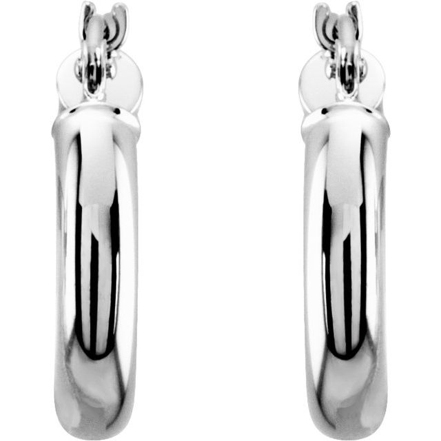 14K White 15 mm Tube Hoop Earrings