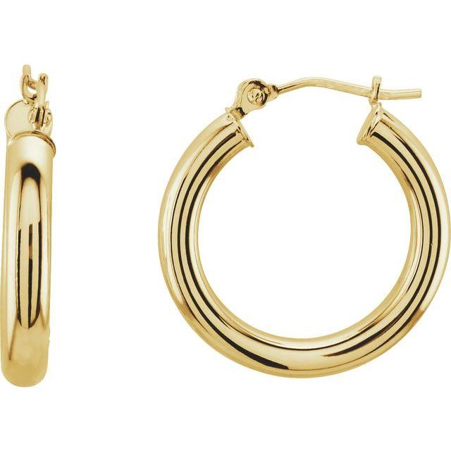14K Yellow 20 mm Tube Hoop Earrings