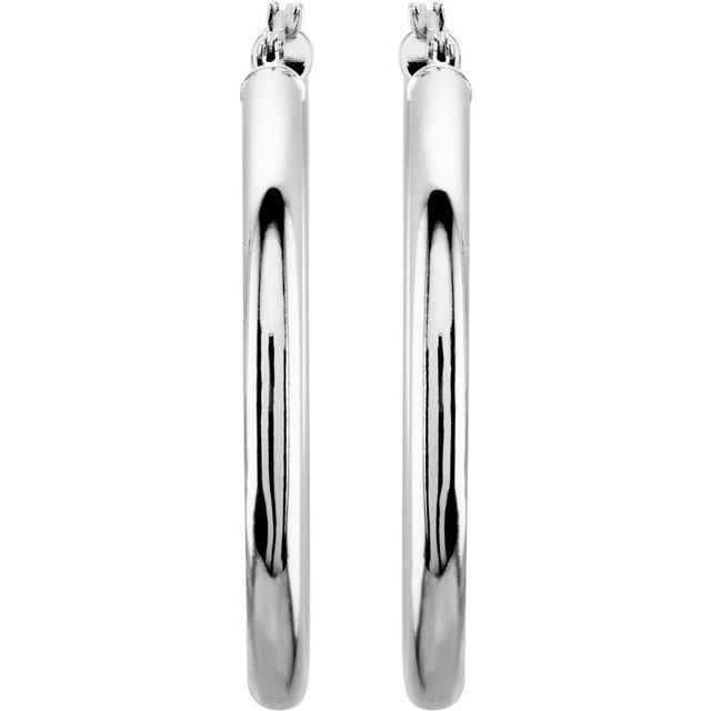 14K White 35 mm Tube Hoop Earrings