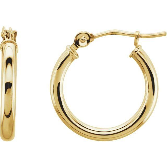 14K Yellow 15 mm Huggie Hoop Earrings