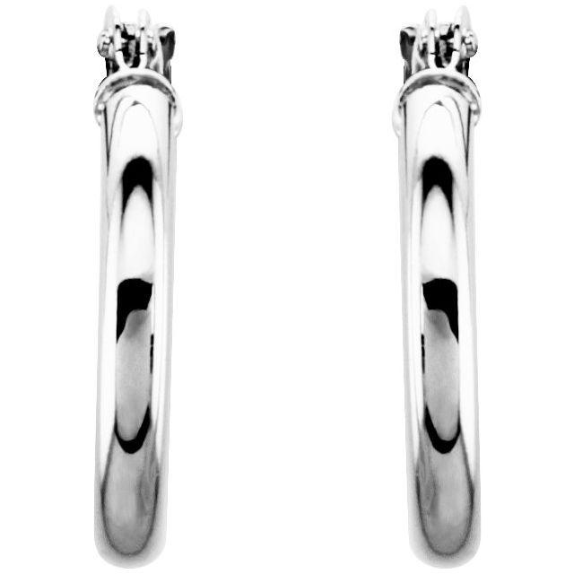 14K White 15 mm Huggie Hoop Earrings
