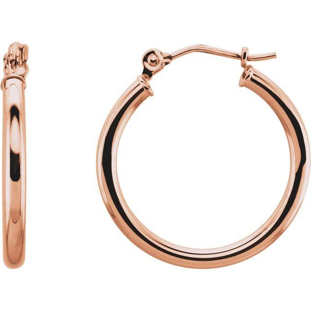 14K Rose 20 mm Hoop Earrings