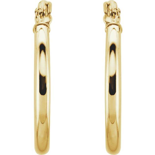 14K Yellow 20 mm Hoop Earrings