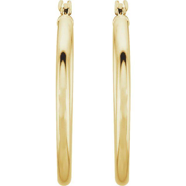 14K Yellow 25 mm Tube Hoop Earrings