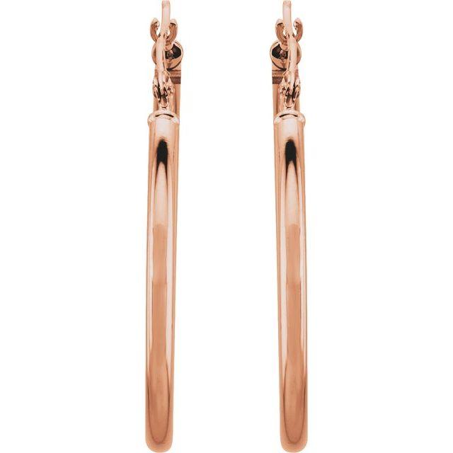 14K Rose 30 mm Hoop Earrings