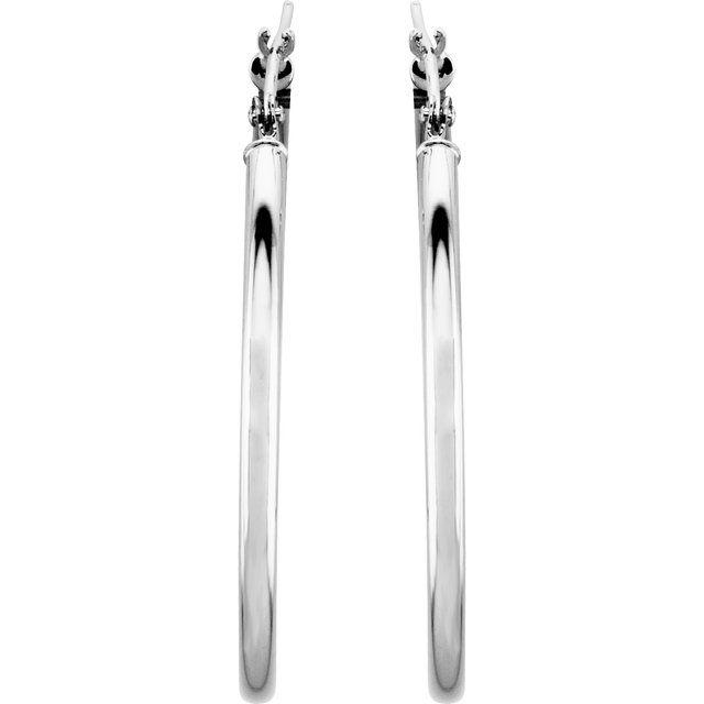 14K White 34 mm Hoop Earrings