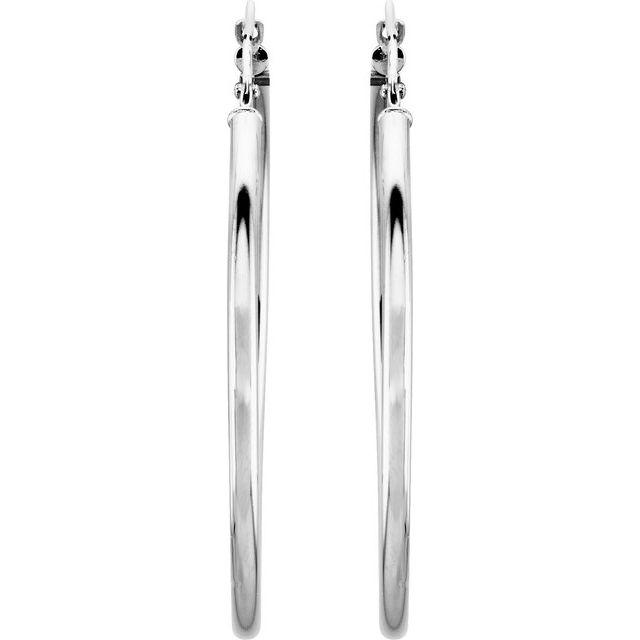 14K White 40 mm Hoop Earrings