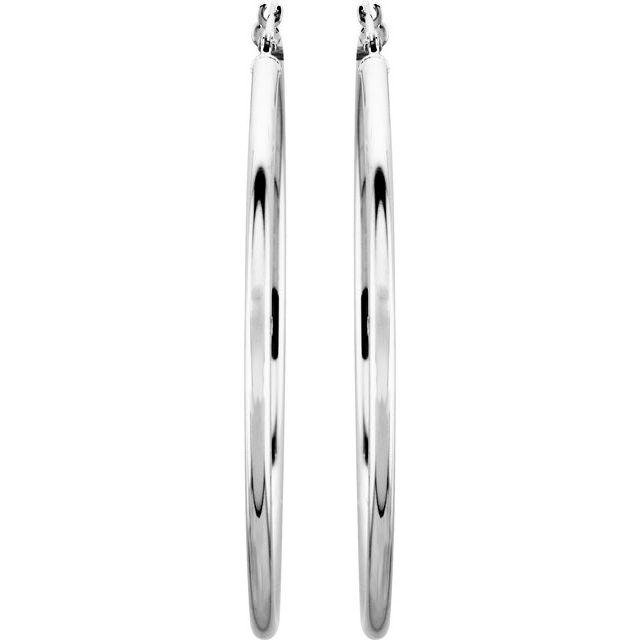 14K White 47 mm Hoop Earrings