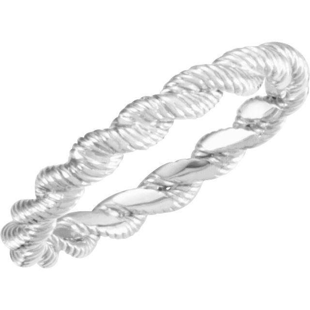14K White Twisted Rope Band Size 7