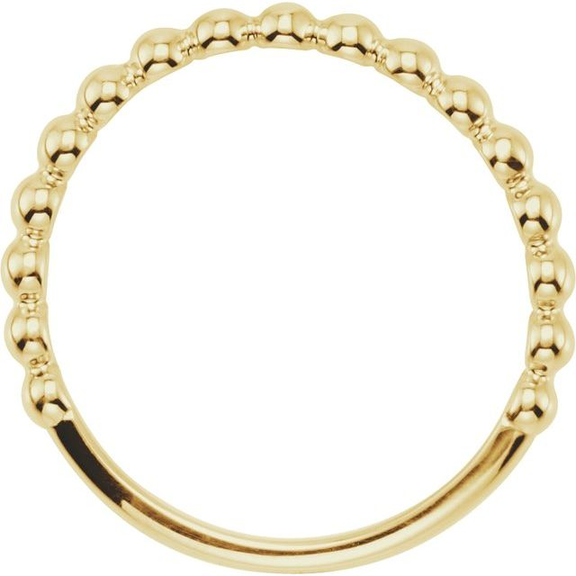 14K Yellow Stackable Beaded Ring