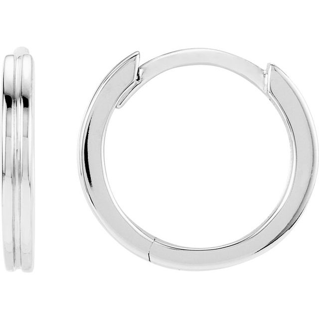 14K White Metal Fashion Grooved Hoop Earrings