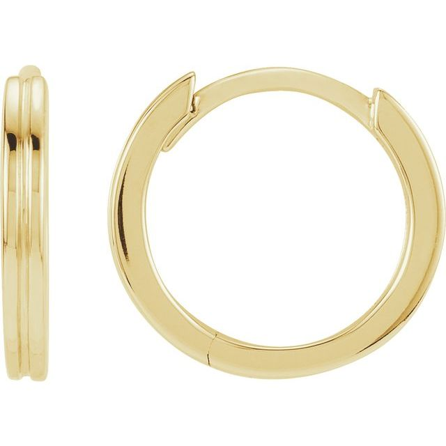 14K Yellow Metal Fashion Grooved Hoop Earrings