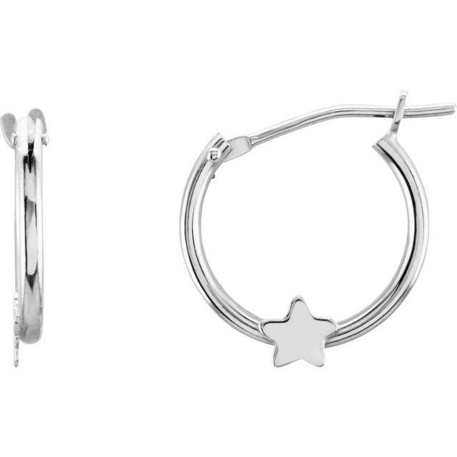 14K White Hinged Hoop Earrings with Star