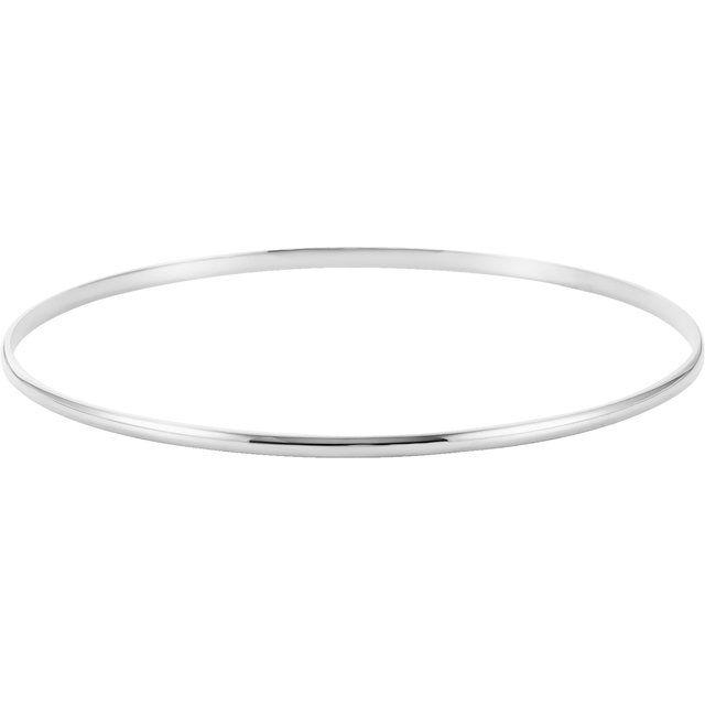 14K White 2 mm Half Round Bangle 7 1/2