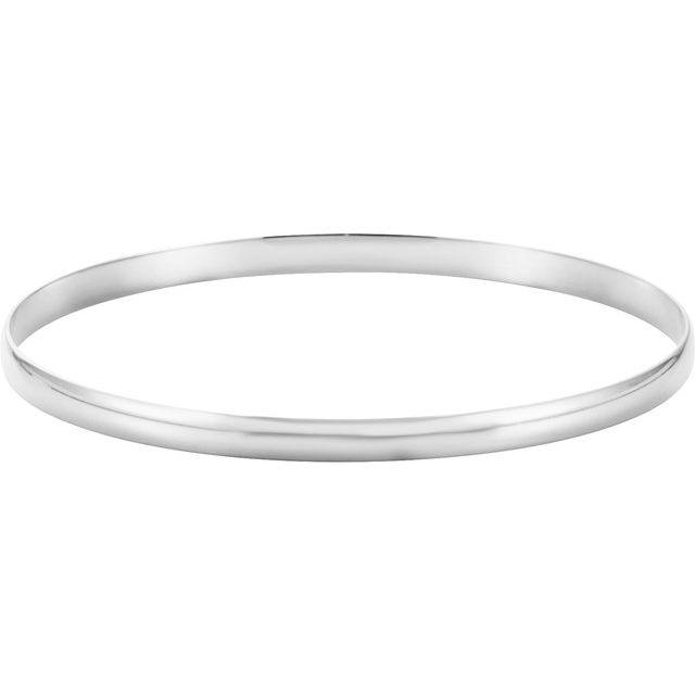 14K White 8 mm Half Round Bangle 7 3/4