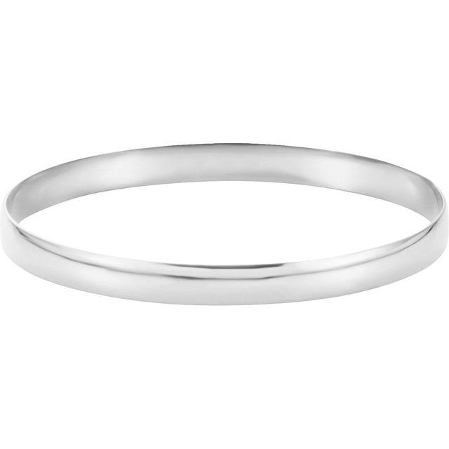 14K White 6 mm Half Round Bangle 7 3/4