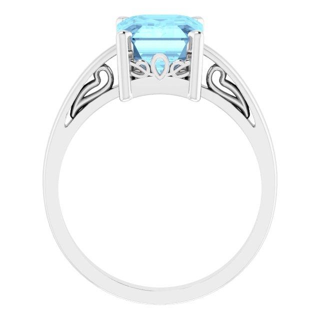 14K White Aquamarine Scroll Setting® Ring