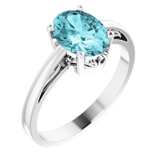 14K White Blue Zircon Ring