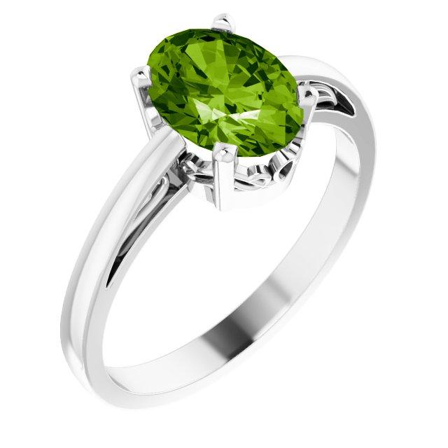 14K White Peridot Ring