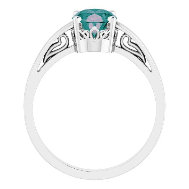14K White Lab-Grown Alexandrite Ring