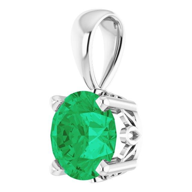 14K White Lab-Grown Emerald Scroll Setting® Pendant