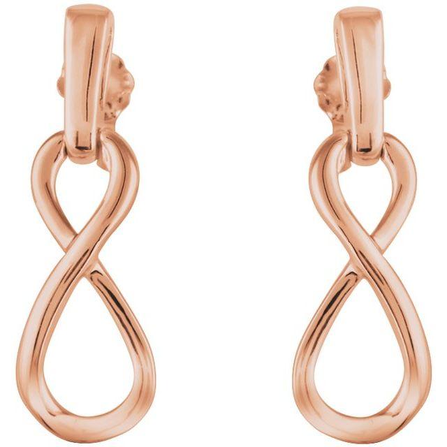14K Rose Infinity-Inspired Dangle Earrings
