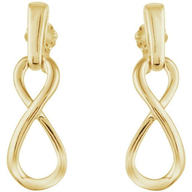 14K Yellow Infinity-Inspired Dangle Earrings