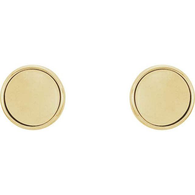 14K Yellow Concave Earrings