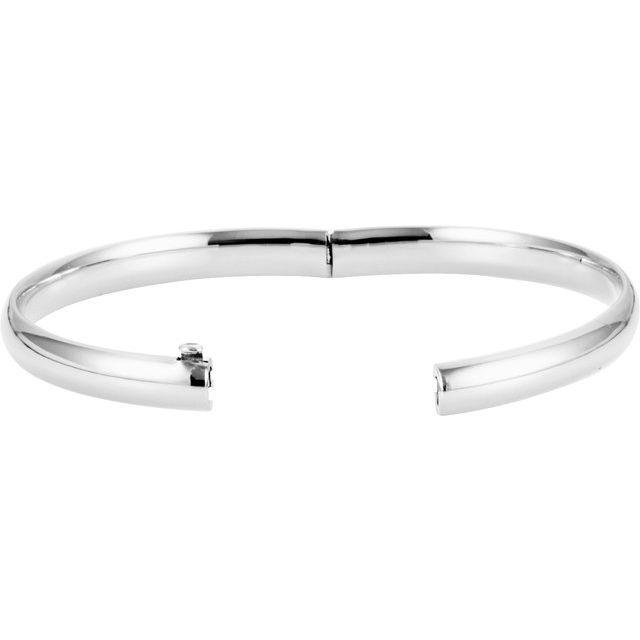 14K White 6.5 mm Hinged Bangle Bracelet