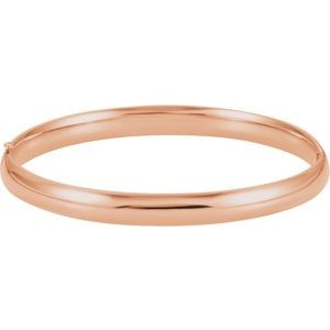14K Rose 6.5 mm Hinged Bangle Bracelet