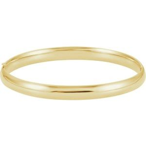 14K Yellow 6.5 mm Hinged Bangle Bracelet