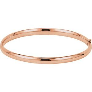 14K Rose 4.75 mm Hinged Bangle Bracelet