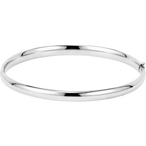 14K White 4.75 mm Hinged Bangle Bracelet