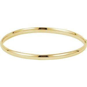 14K Yellow 4 mm Hinged Bangle Bracelet