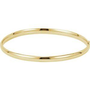 14K Yellow 4 mm Hinged Bangle Bracelet
