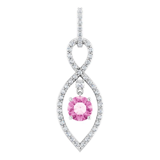 14K White Pink Sapphire & 3/8 CTW Diamond Pendant