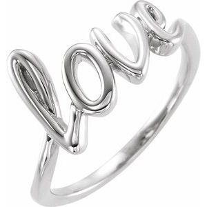 14K White Love Ring