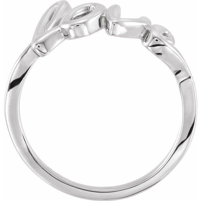 14K White Love Ring