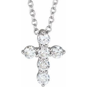 "14K White 17.8x12.9 mm Cross 16-18"" Necklace Mounting"