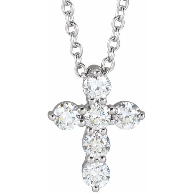 14K White 10.2x7.9 mm 1/4 CTW Diamond Cross 16-18