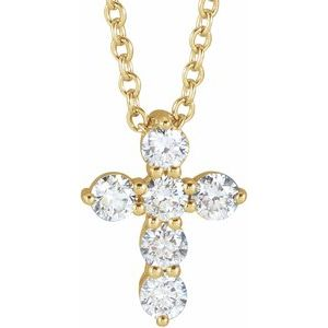 "14K Yellow 10.2x7.9 mm 1/4 CTW Diamond Cross 16-18"" Necklace"