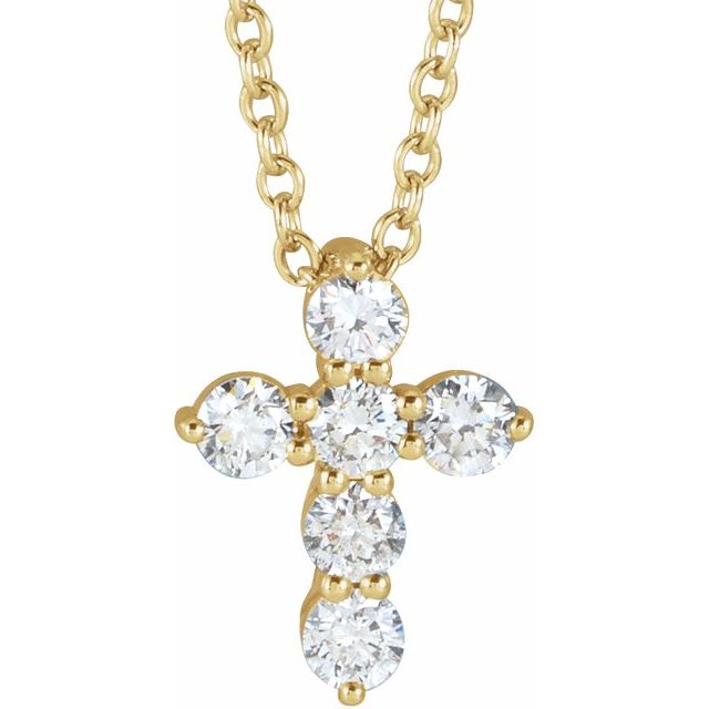 14K Yellow 10.2x7.9 mm 1/4 CTW Diamond Cross 16-18
